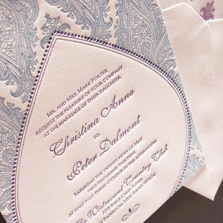 Dazzling Paisley In A Unique Frame Makes This Truly Special Letterpress Invitation For Middle Eastern Themed Wedding
