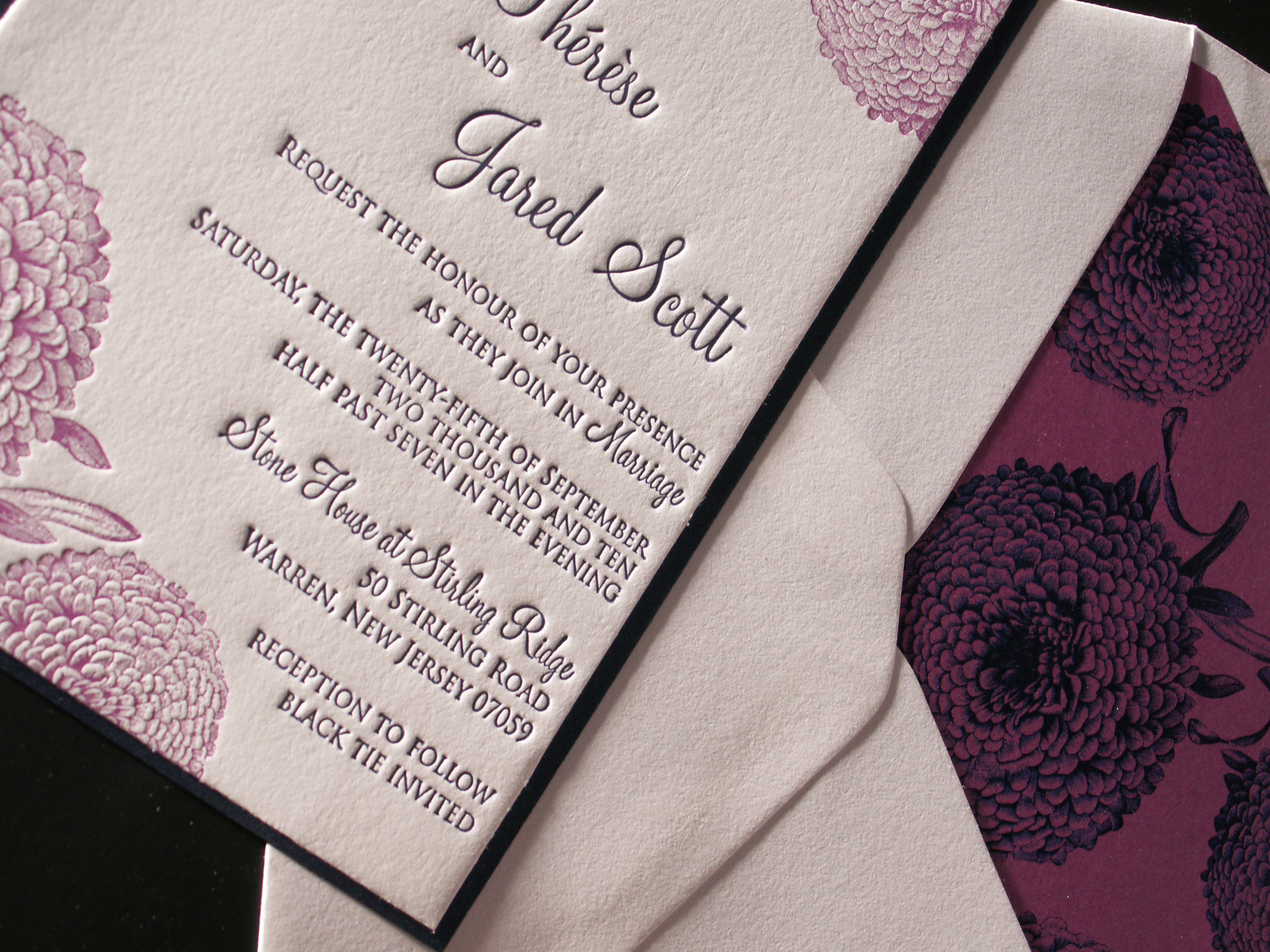 Autumn Mum Letterpress Wedding Invitation by Plum Blossom Press