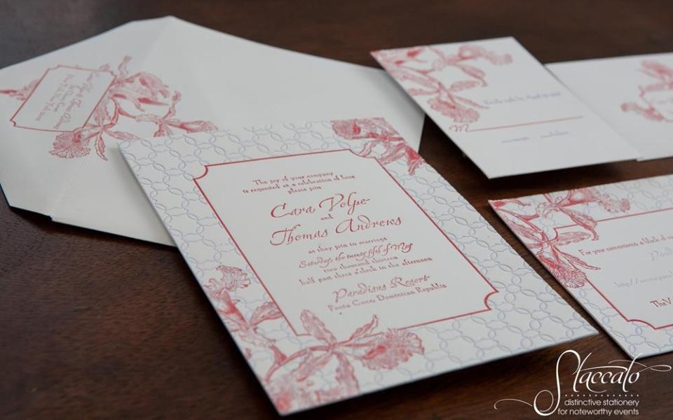 Tropics Letterpress Wedding Invitation by Plum Blossom Press
