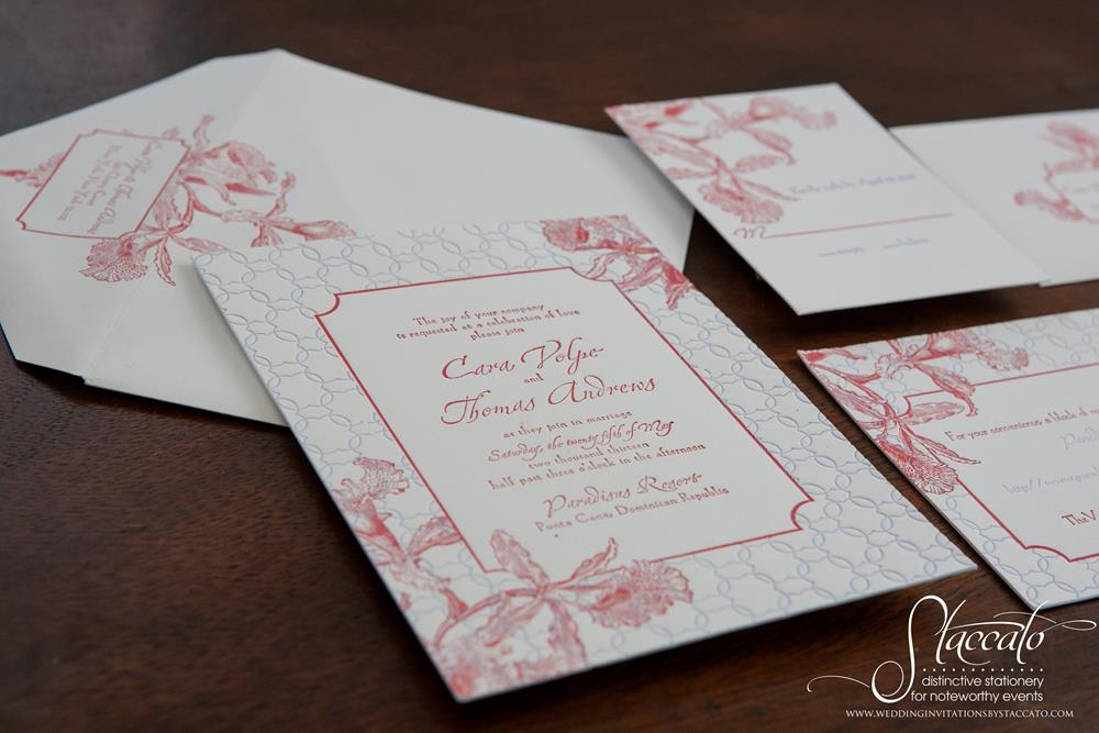 Tropics Letterpress Wedding Invitation by Plum Blossom Press