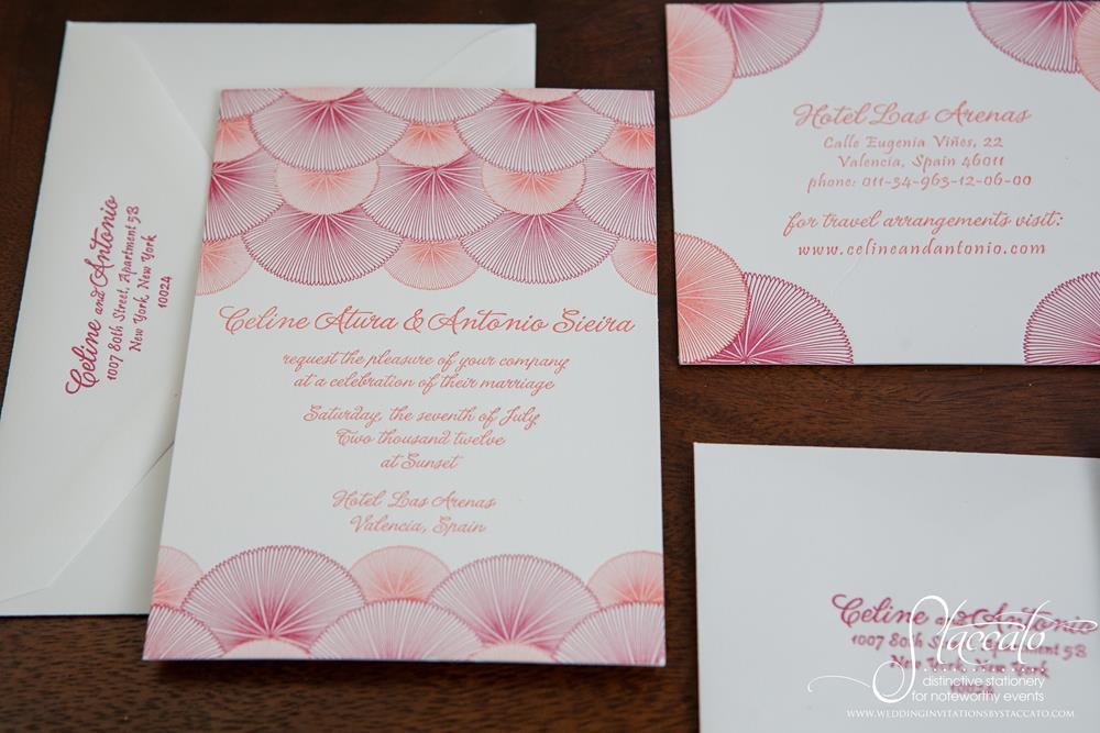 Onda Letterpress Wedding Invitation by Plum Blossom Press