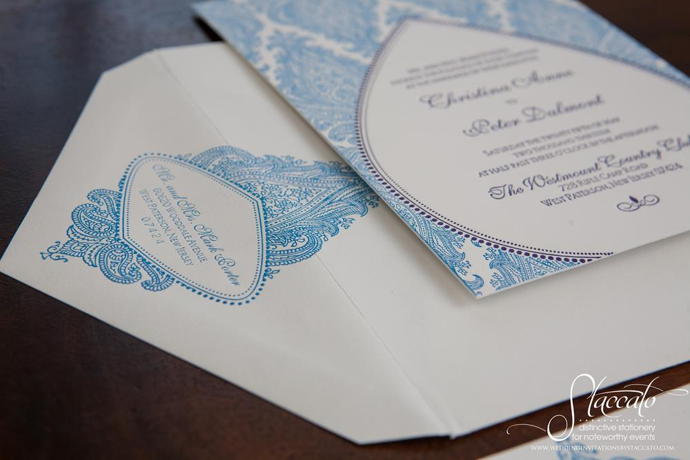 Morocco Letterpress Wedding Invitation by Plum Blossom Press