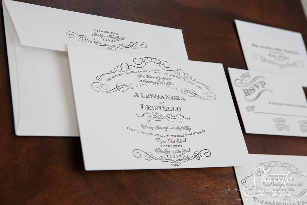 Chateau Letterpress Wedding Invitation by Plum Blossom Press