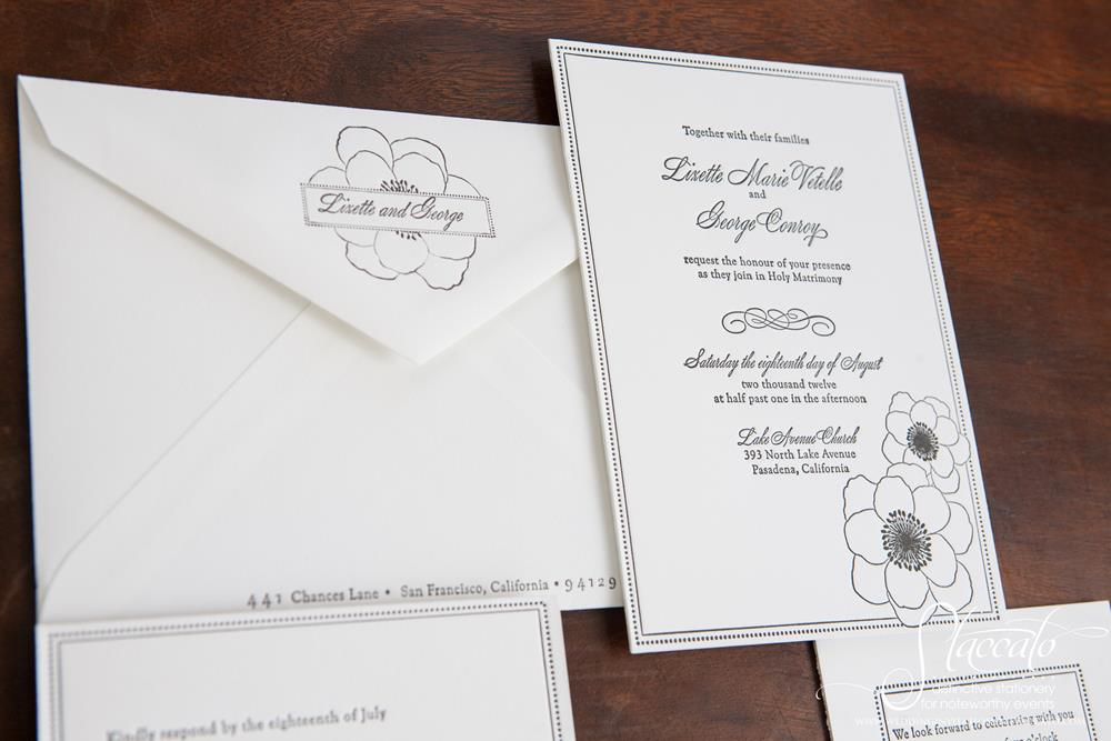 Anemone Letterpress Wedding Invitation by Plum Blossom Press