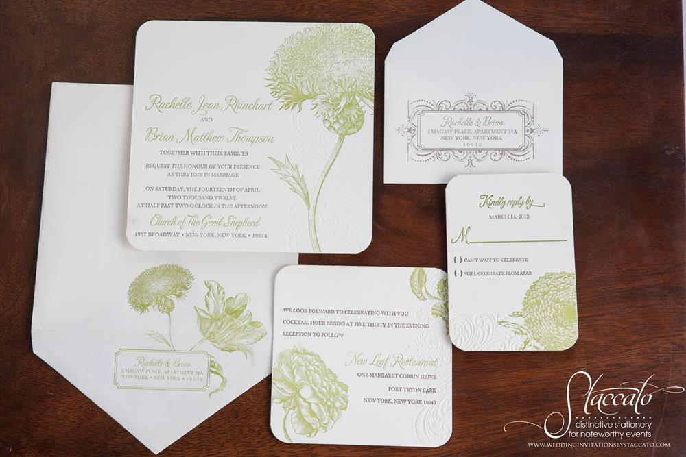 Rustic Romance Letterpress Wedding Invitation by Plum Blossom Press
