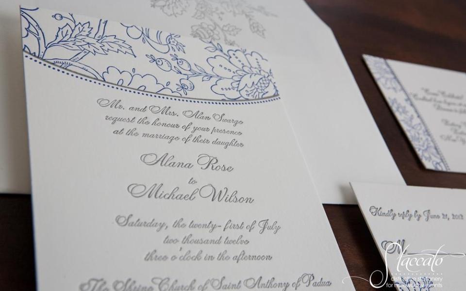 Embroidery Letterpress Wedding Invitation
