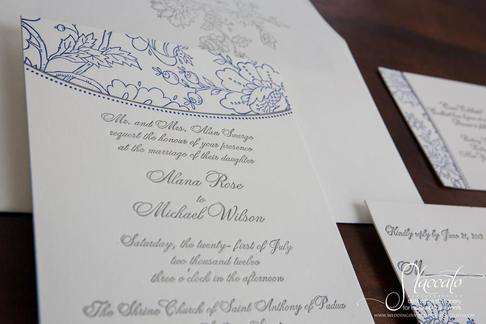 Embroidery Letterpress Wedding Invitation