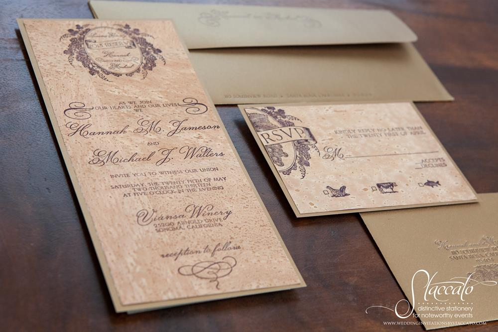 Sonoma Letterpress Wedding Invitation on Cork