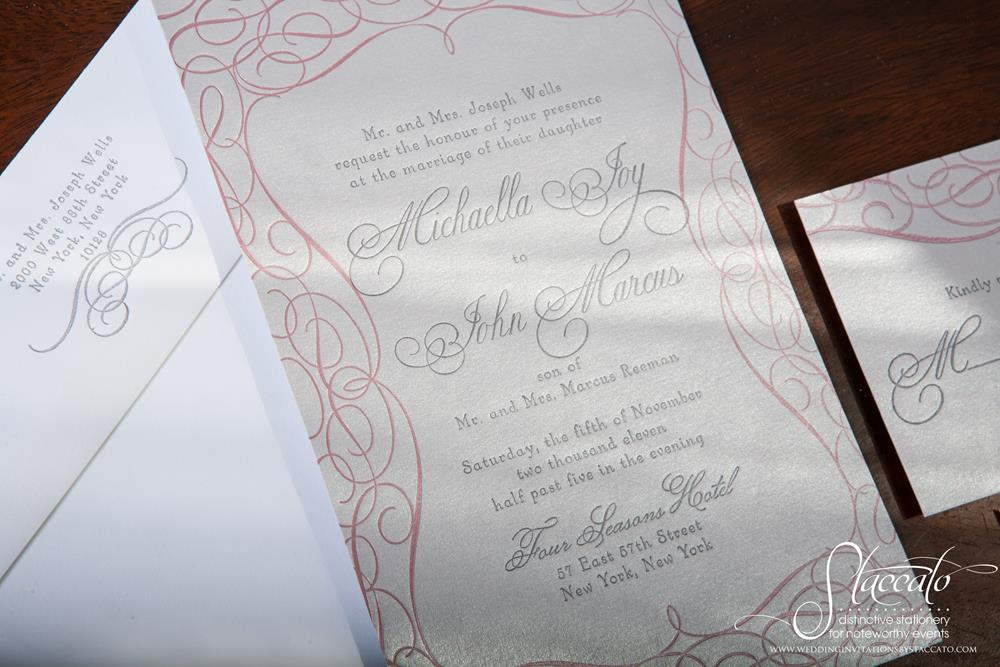 Mademoiselle Letterpress Wedding Invitation by Plum Blossom Press