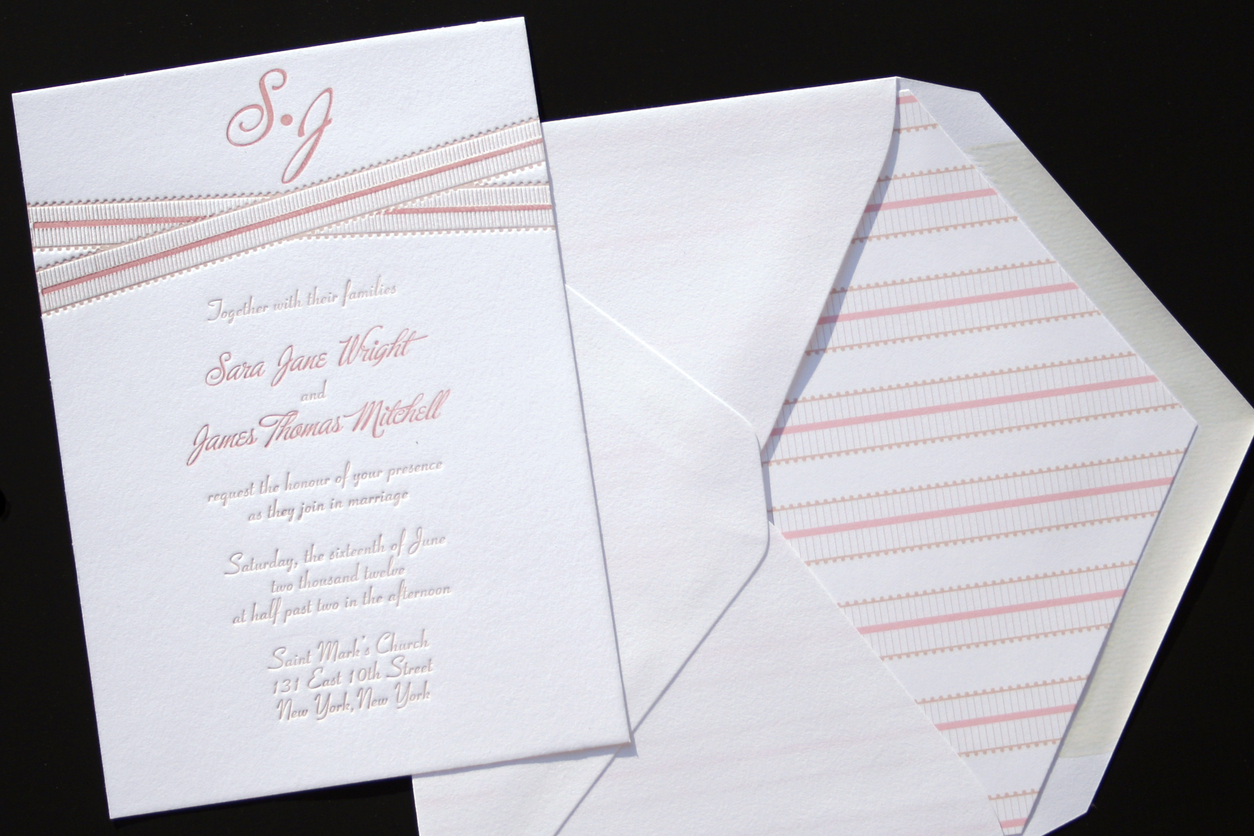 Grosgrain Letterpress Wedding Invitation