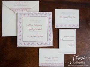 Brocade Letterpress Wedding Invitation