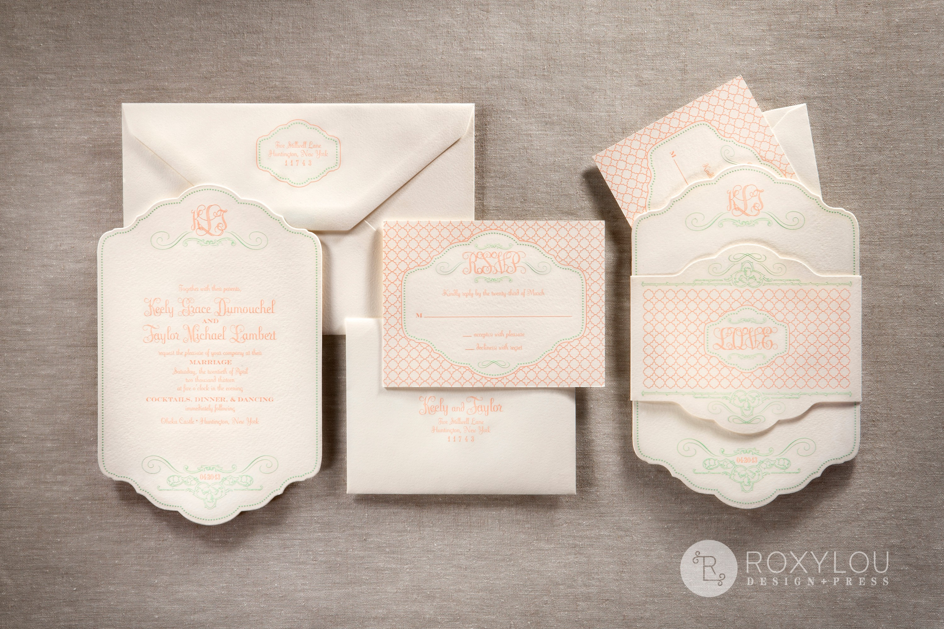 "The Bliss invitation suite features 2-color engraved printing.  Your stunning 5.5"" x 8.5"" die cut invitation and coordinating inserts are  neatly wrapped by an engraved and die cut band that features a trendy geometric pattern with beautiful scroll-work.  Pale pink and mint green are delightful on pearl white paper, but this design can be created in any color scheme."
