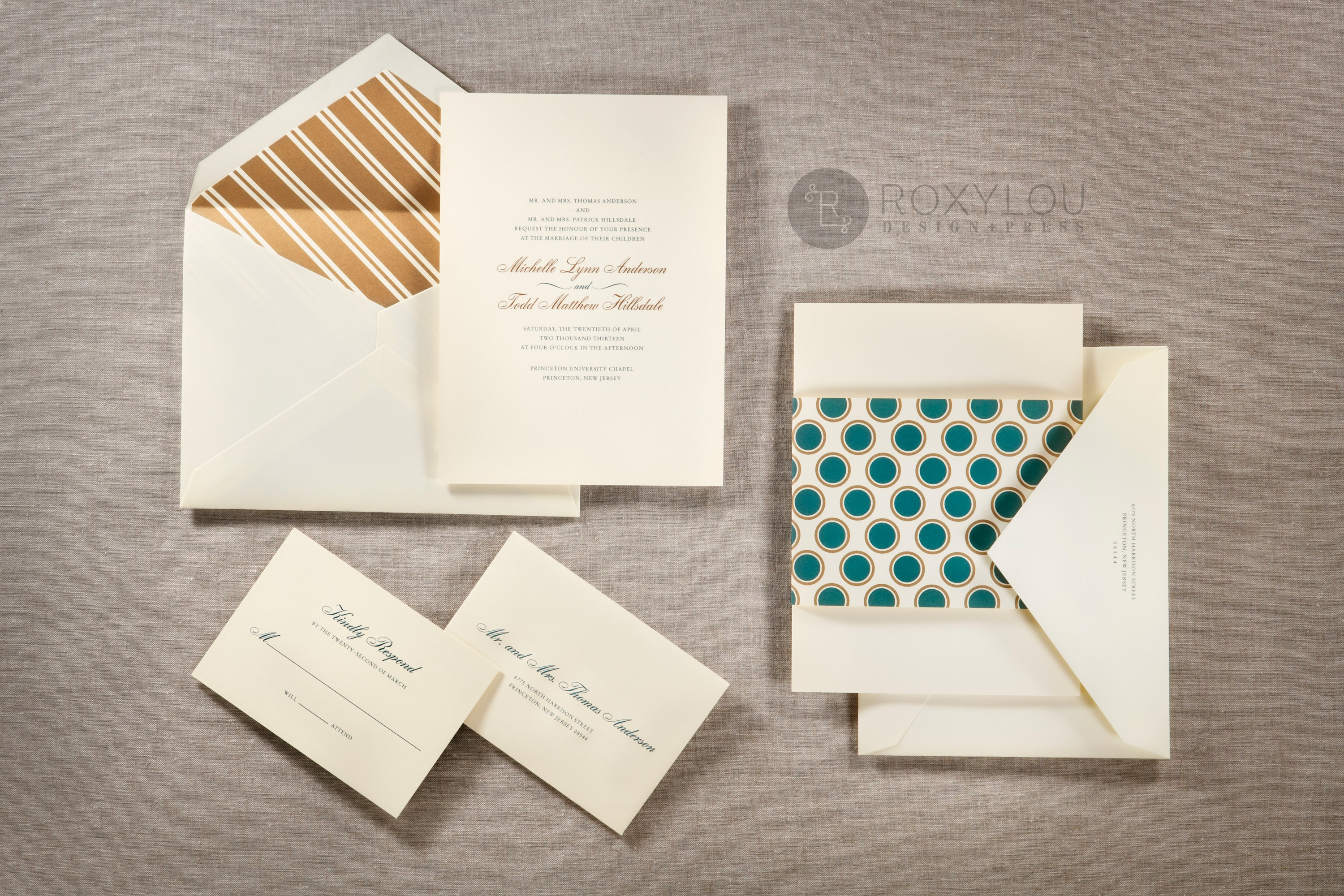 The Hampton invitation suite features a traditionally formal 2-color engraved invitation card with a dotted wrap, engraved outer envelope,  and a beautiful stripe-lined inner envelope.  Stunning in turquoise and gold on ecru paper, but we'd love to customize this invitation's colors to coordinate with your own wedding.