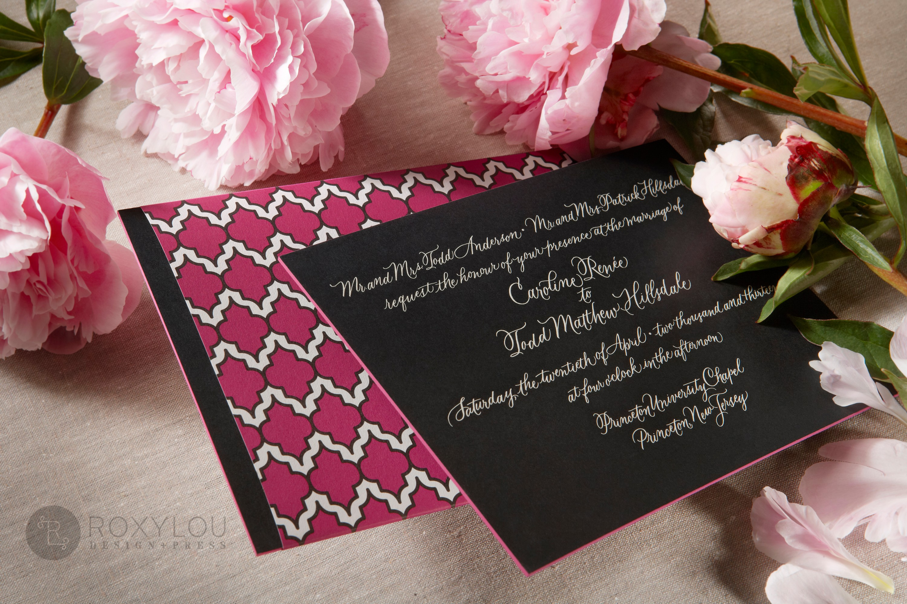 The Moxie invitation suite features a stunningly thick engraved invitation card with contrast painted edge.  Invite and inserts are neatly tucked into a geometric pattern wrap and then into a lined inner envelope and an engraved outer envelope.  Truly stunning in fuchsia and black, but can be created in any color scheme.