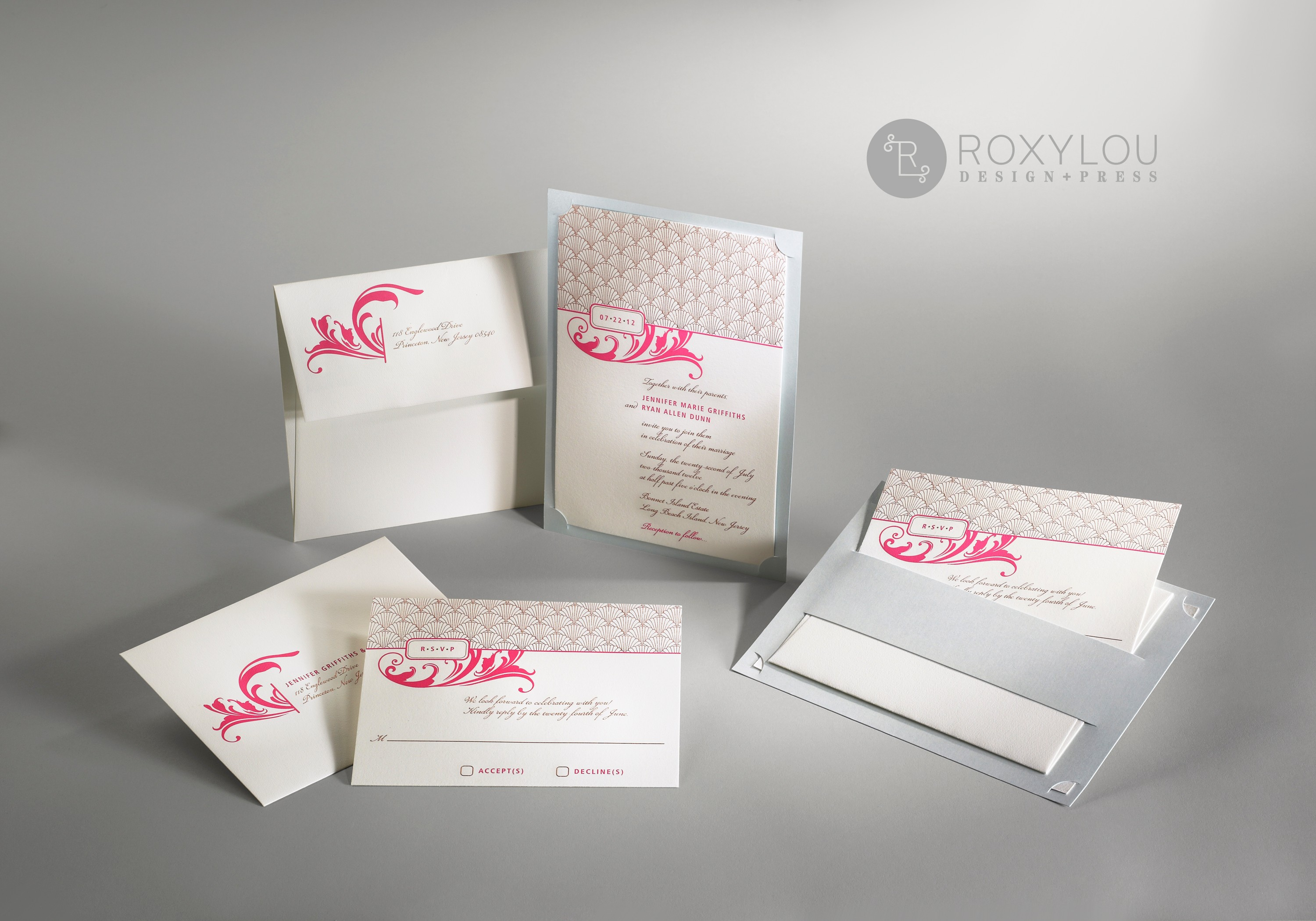 The Deco Invitation Suite includes an engraved invitation card layered onto a die-cut back panel that holds all the inserts.  Unique, contemporary, and beautiful as shown in hot pink, gold, and aquamarine, but let us customize this to your wedding colors!