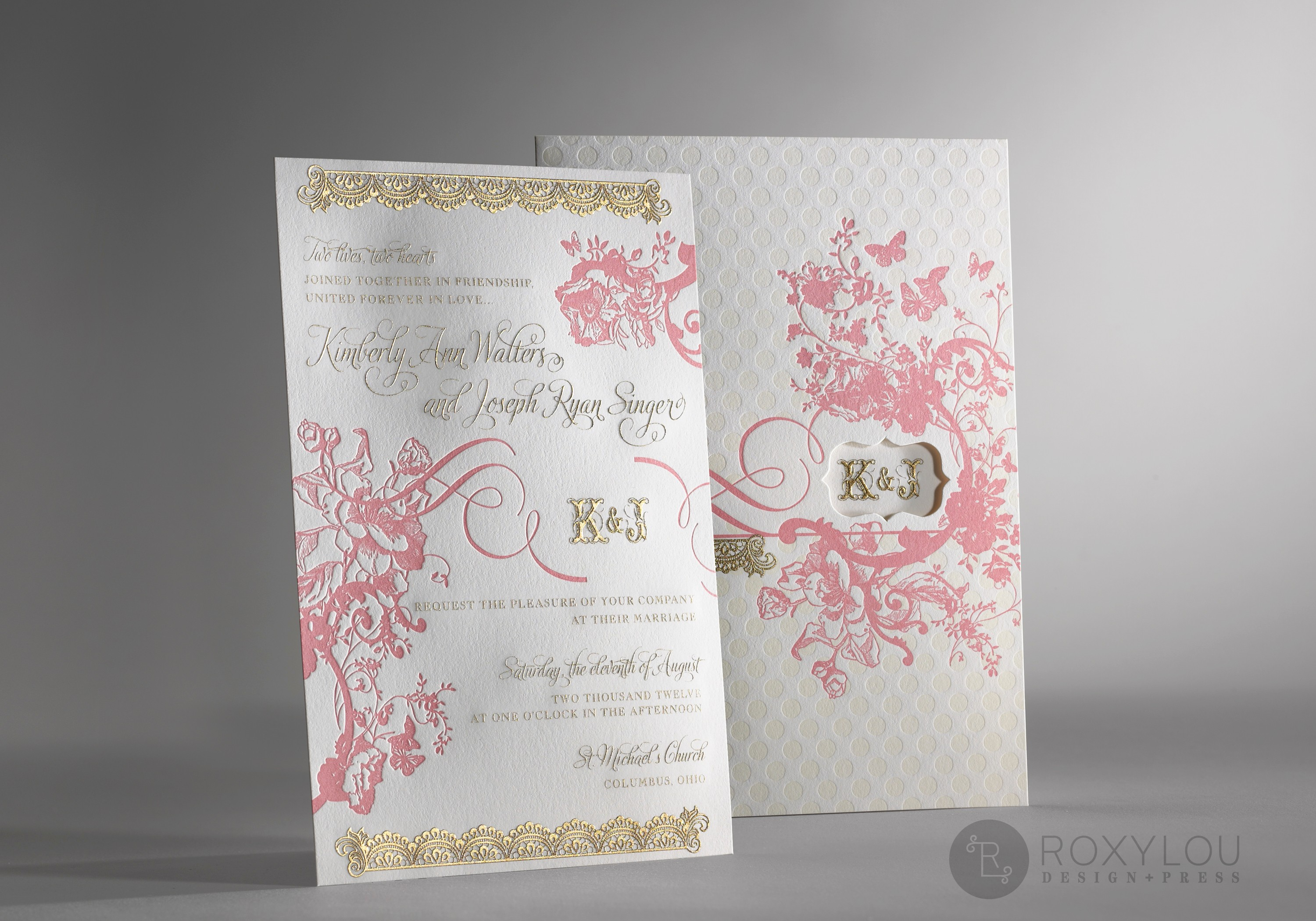It's all in the details in this ornate, thoughtful design!  The stunning Enchanted wedding invitation suite features a debossed, letterpressed, and engraved booklet with a decorative keyhole cutout revealing the monogram on the invitation inside.  Stunning as pictured in red and gold or pink and gold, but this design can be created in your own color scheme.