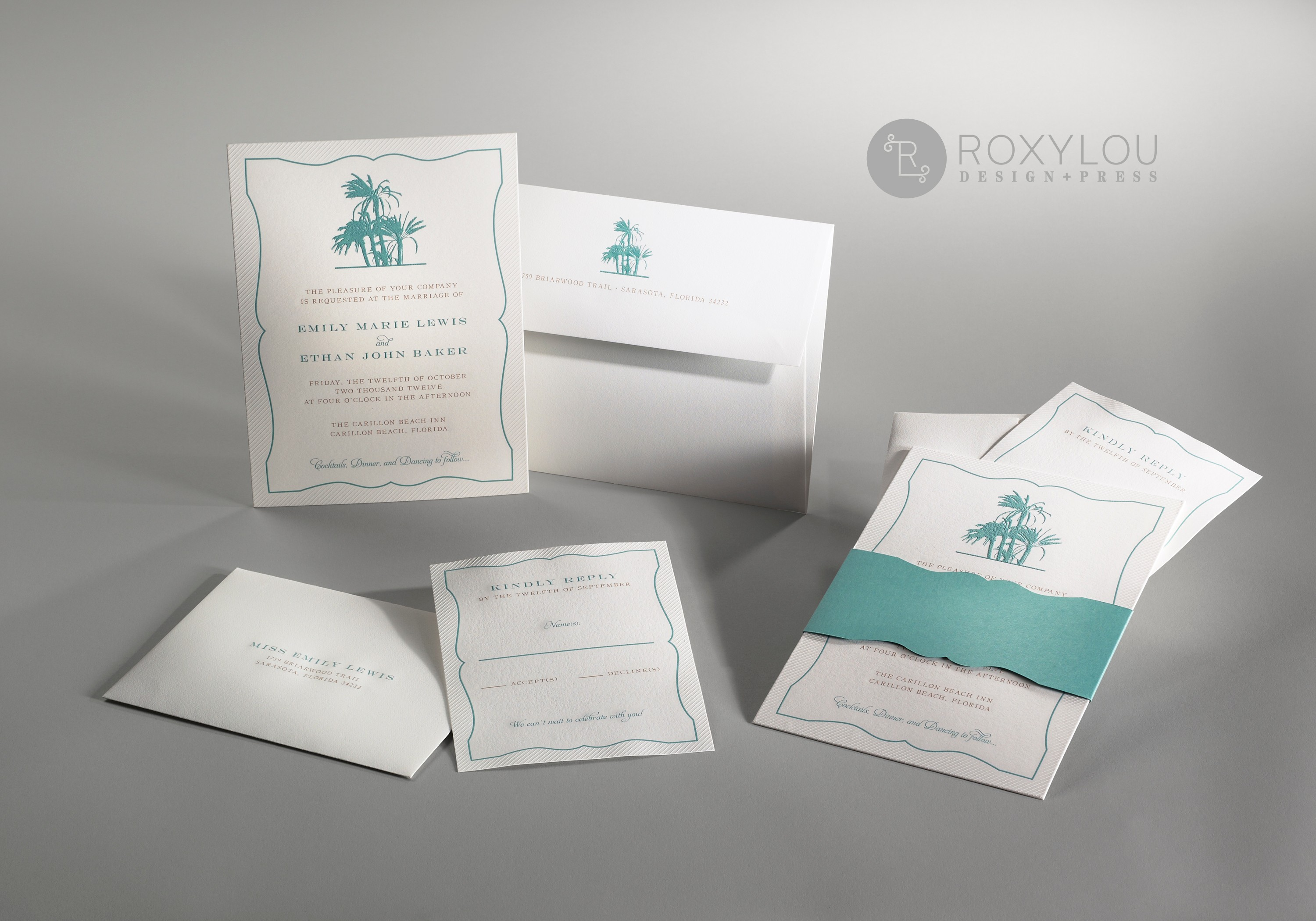 The Palms invitation suite includes an embossed and engraved invitation card with a die-cut accent wrap.  Insert cards are embossed and engraved and envelope is engraved with a die-cut liner.  Perfect for your beach wedding!