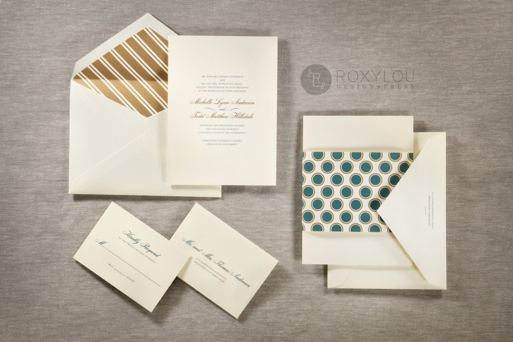 The Hampton invitation suite features a traditionally formal 2-color engraved invitation card with a dotted wrap, engraved outer envelope, and a beautiful stripe-lined inner envelope. Stunning in turquoise and gold on ecru paper, but we'd love to customize this invitation's colors to coordinate with your own wedding. Hampton_Family