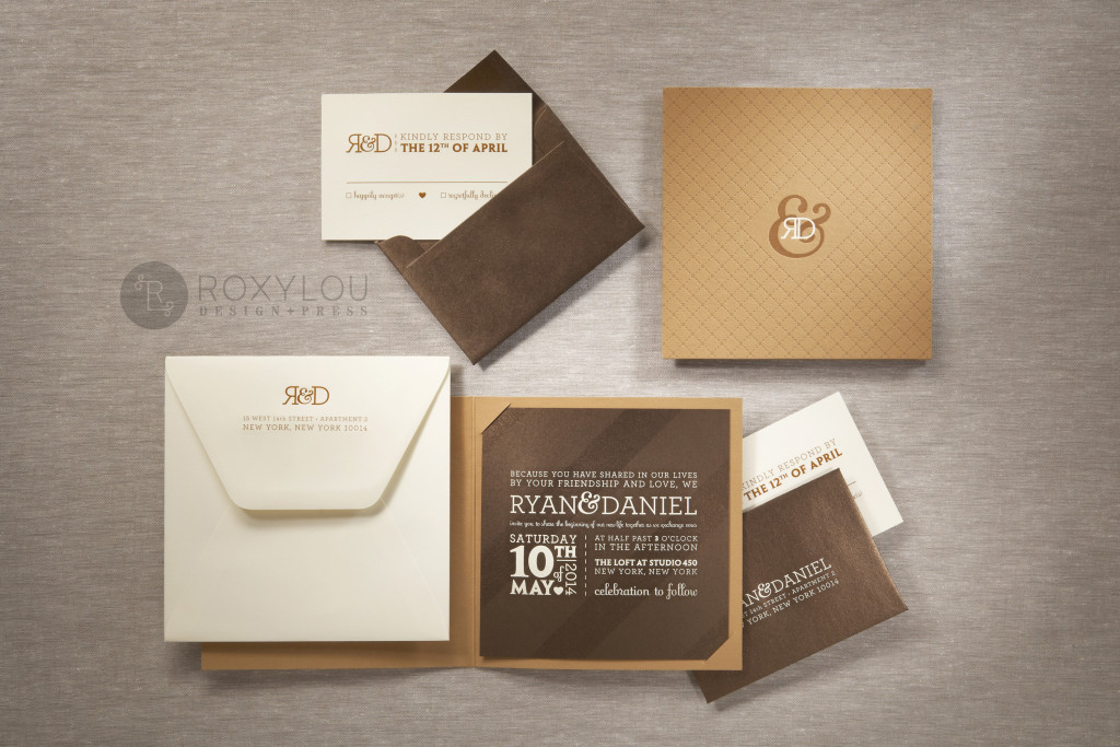 The Madison invitation suite features a letterpressed and engraved booklet that has a panel on the back to neatly hold all your engraved inserts. Very hip in the featured brown color scheme, but this design can be created to coordinate with your event! Madison_Family