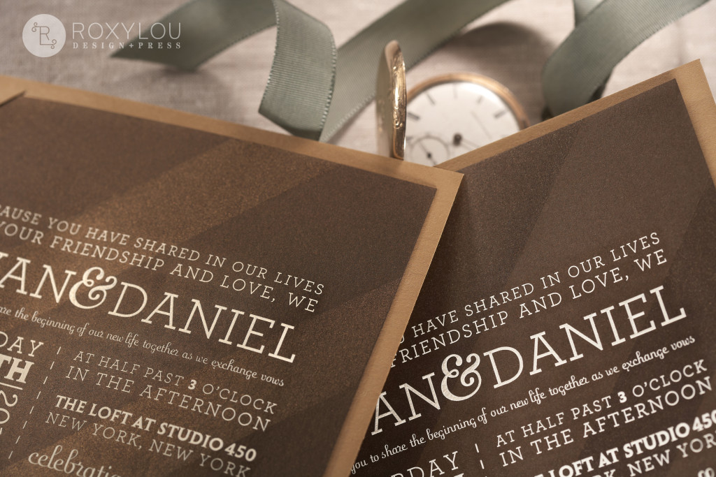 The Madison invitation suite features a letterpressed and engraved booklet that has a panel on the back to neatly hold all your engraved inserts. Very hip in the featured brown color scheme, but this design can be created to coordinate with your event! Madison_detail_1