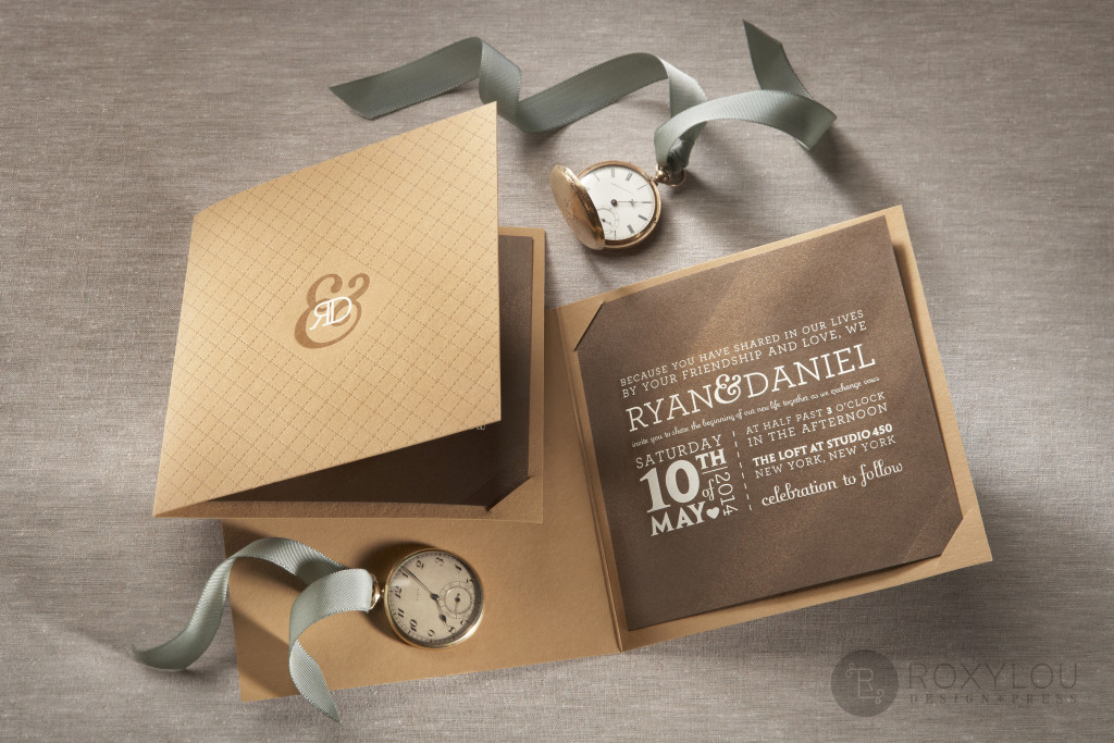 The Madison invitation suite features a letterpressed and engraved booklet that has a panel on the back to neatly hold all your engraved inserts. Very hip in the featured brown color scheme, but this design can be created to coordinate with your event! Madison_invite