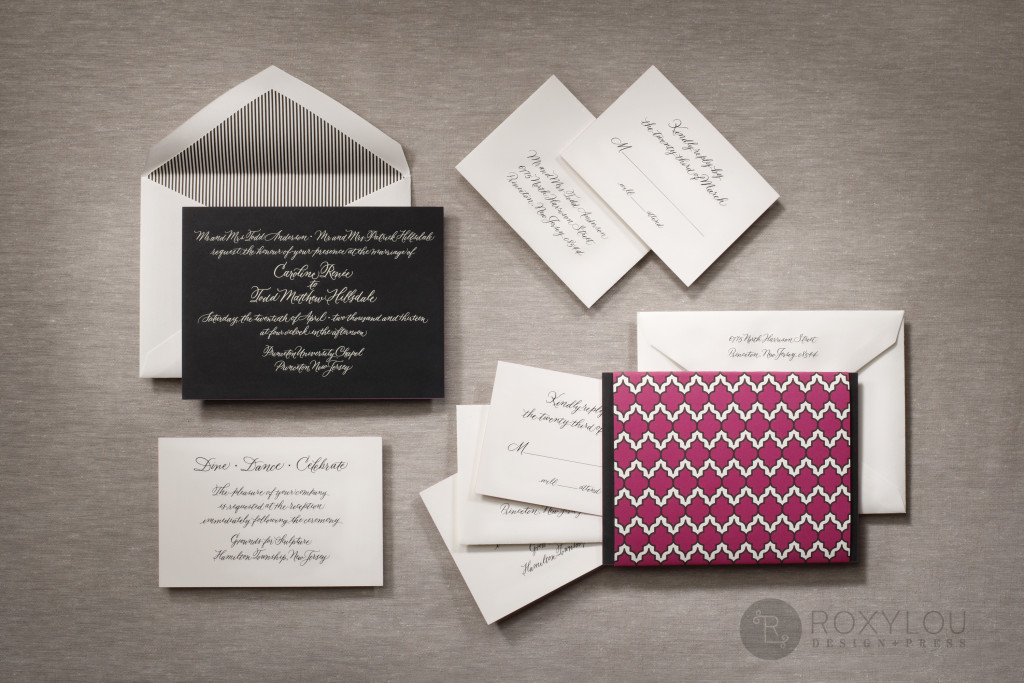 The Moxie invitation suite features a stunningly thick engraved invitation card with contrast painted edge. Invite and inserts are neatly tucked into a geometric pattern wrap and then into a lined inner envelope and an engraved outer envelope. Truly stunning in fuchsia and black, but can be created in any color scheme. Moxie_Family