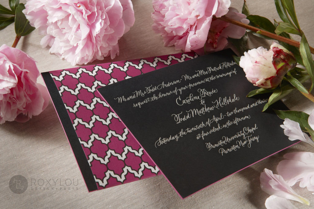The Moxie invitation suite features a stunningly thick engraved invitation card with contrast painted edge. Invite and inserts are neatly tucked into a geometric pattern wrap and then into a lined inner envelope and an engraved outer envelope. Truly stunning in fuchsia and black, but can be created in any color scheme. Moxie_invitation