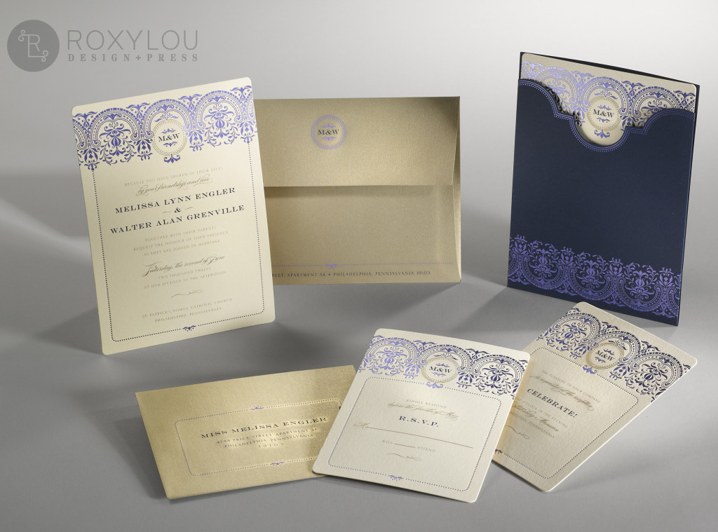 The Baroque invitation suite features foil-stamped and engraved printing. Your stunning 5×7 2-color invitation and coordinating inserts are tucked neatly into a coordinating die-cut pocket that allows the filigree design and monogram to be prominently displayed. Navy and gold are stunning on cream paper with gold metallic envelopes, but this design can be created in any color scheme.