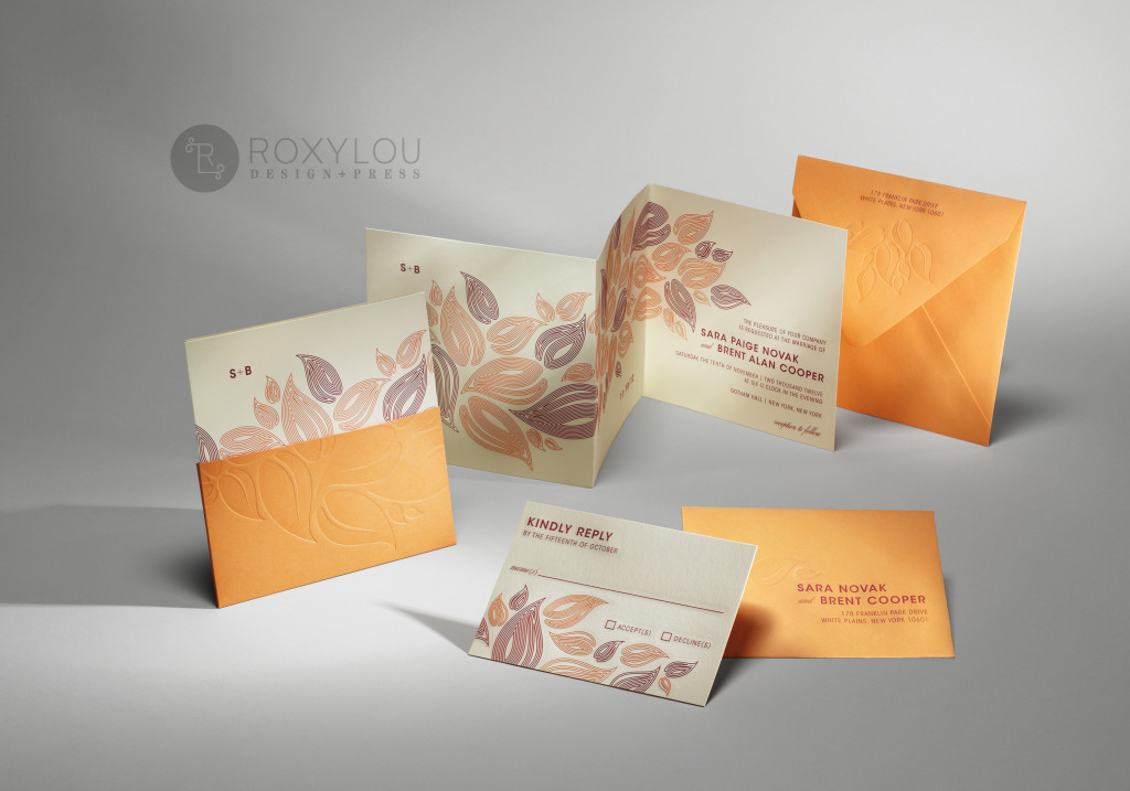 The Foliage invitation suite features an engraved z-fold card with a debossed cuff to hold the invite and inserts neatly in place. Beautiful in the two fall color options shown here, but custom options are available.