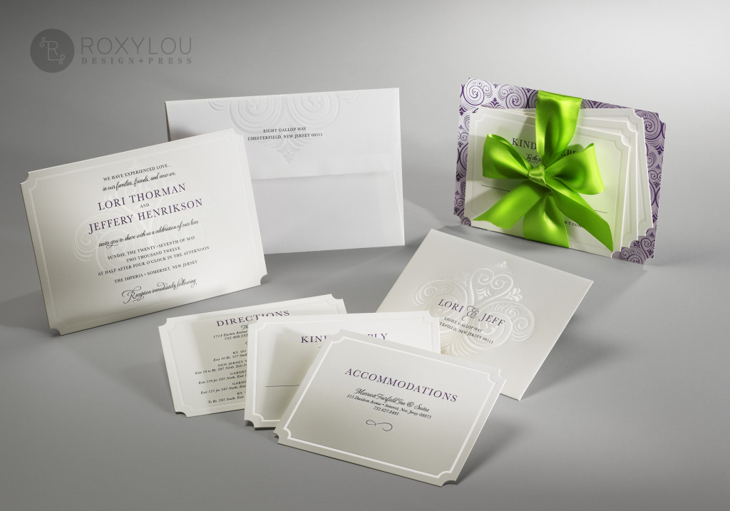 "Subtle details make this under-stated invitation anything but ""simple"". The Grace invitation suite features a foil-stamped, engraved, and die-cut invitation cad and an engraved decorative paper backing. Insert cards and envelopes are both foil-stamped and engraved, and the envelope includes a beautiful engraved liner."