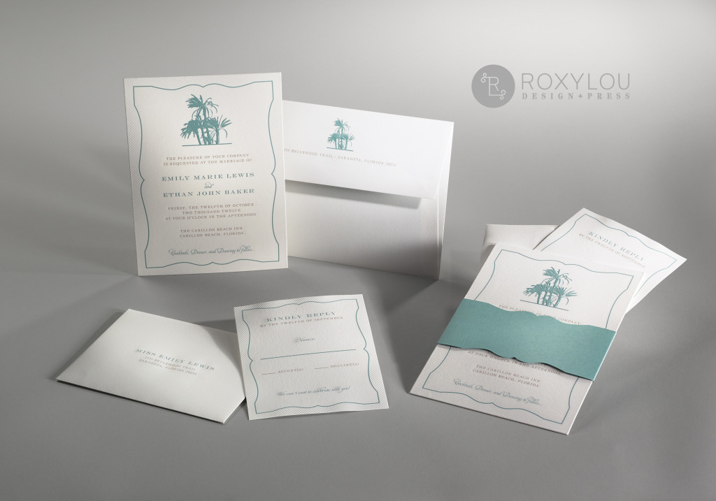 he Palms invitation suite includes an embossed and engraved invitation card with a die-cut accent wrap. Insert cards are embossed and engraved and envelope is engraved with a die-cut liner. Perfect for your beach wedding!