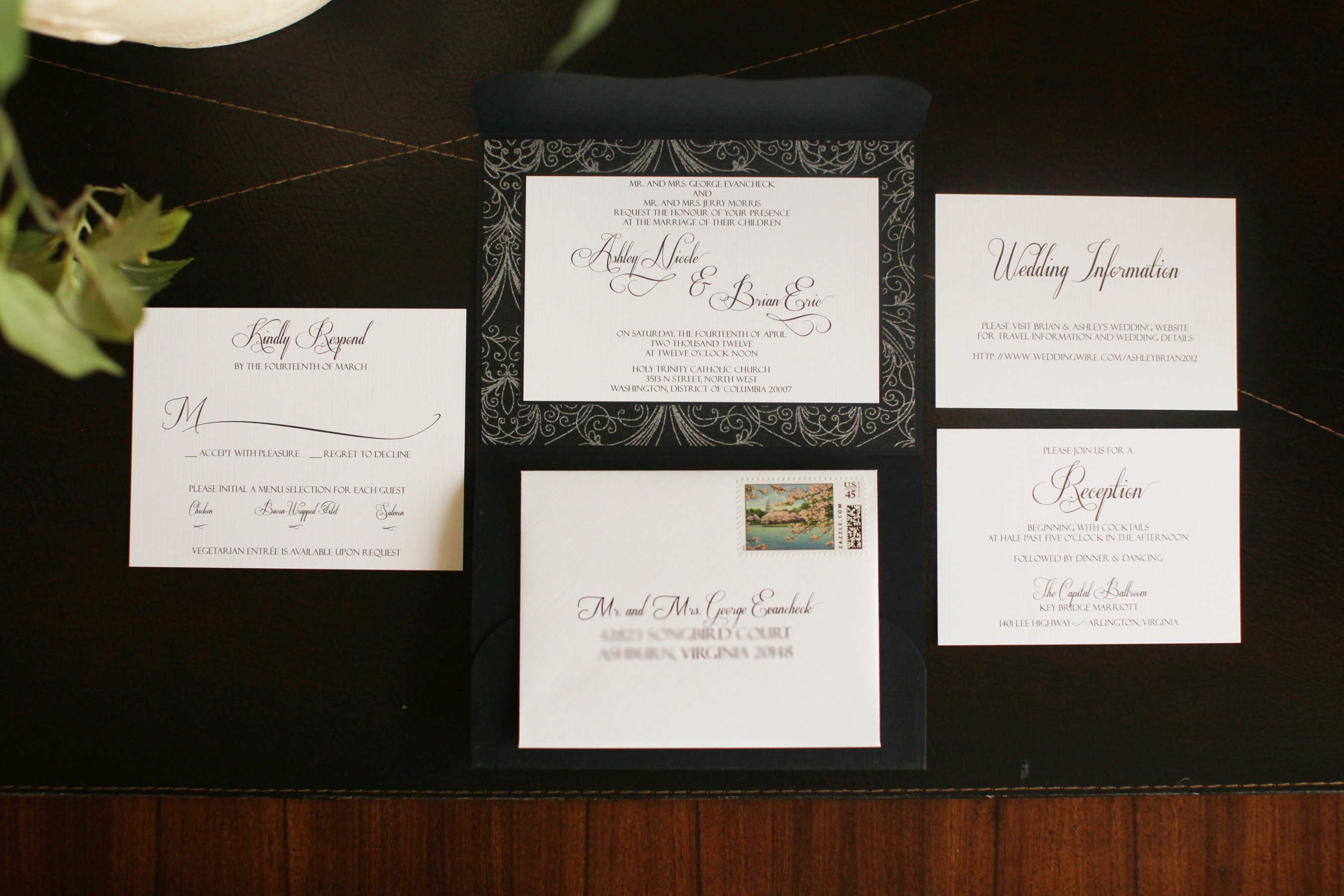 Black and silver custom scalloped wedding invitation