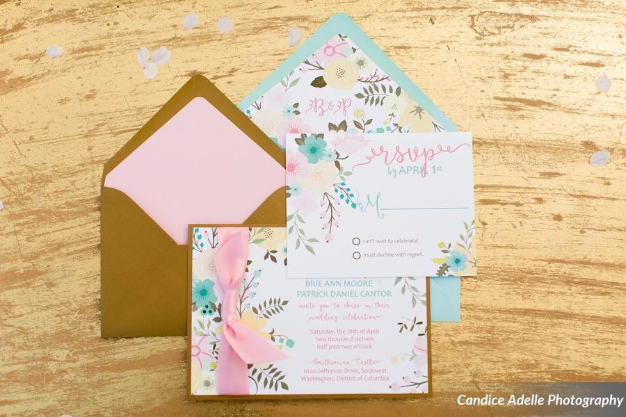 Bright floral, soft ribbon, gold accents. Cherry Blossom wedding suite