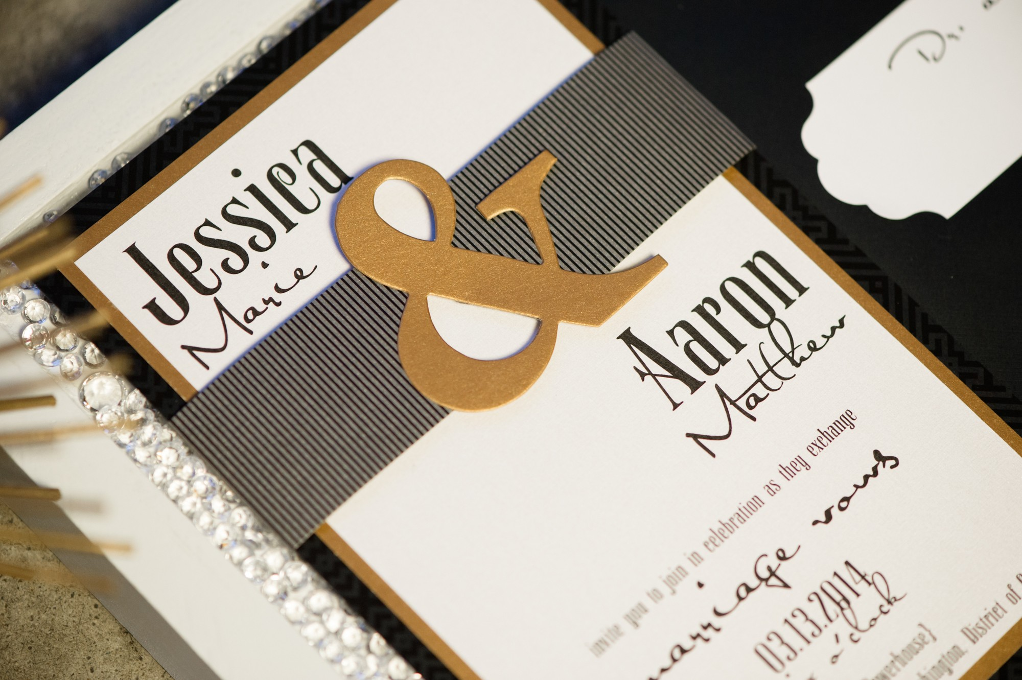 amazing Grace invitation suite, black, white, and gold.  Bold accents.