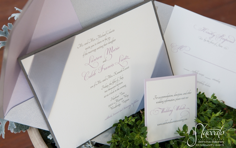Elegance in Lavender, ribbon corners, metallic gray and silver.