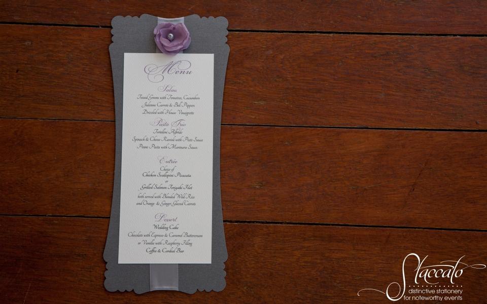 Dinner menu, die cut, ribbon and chiffon rosette