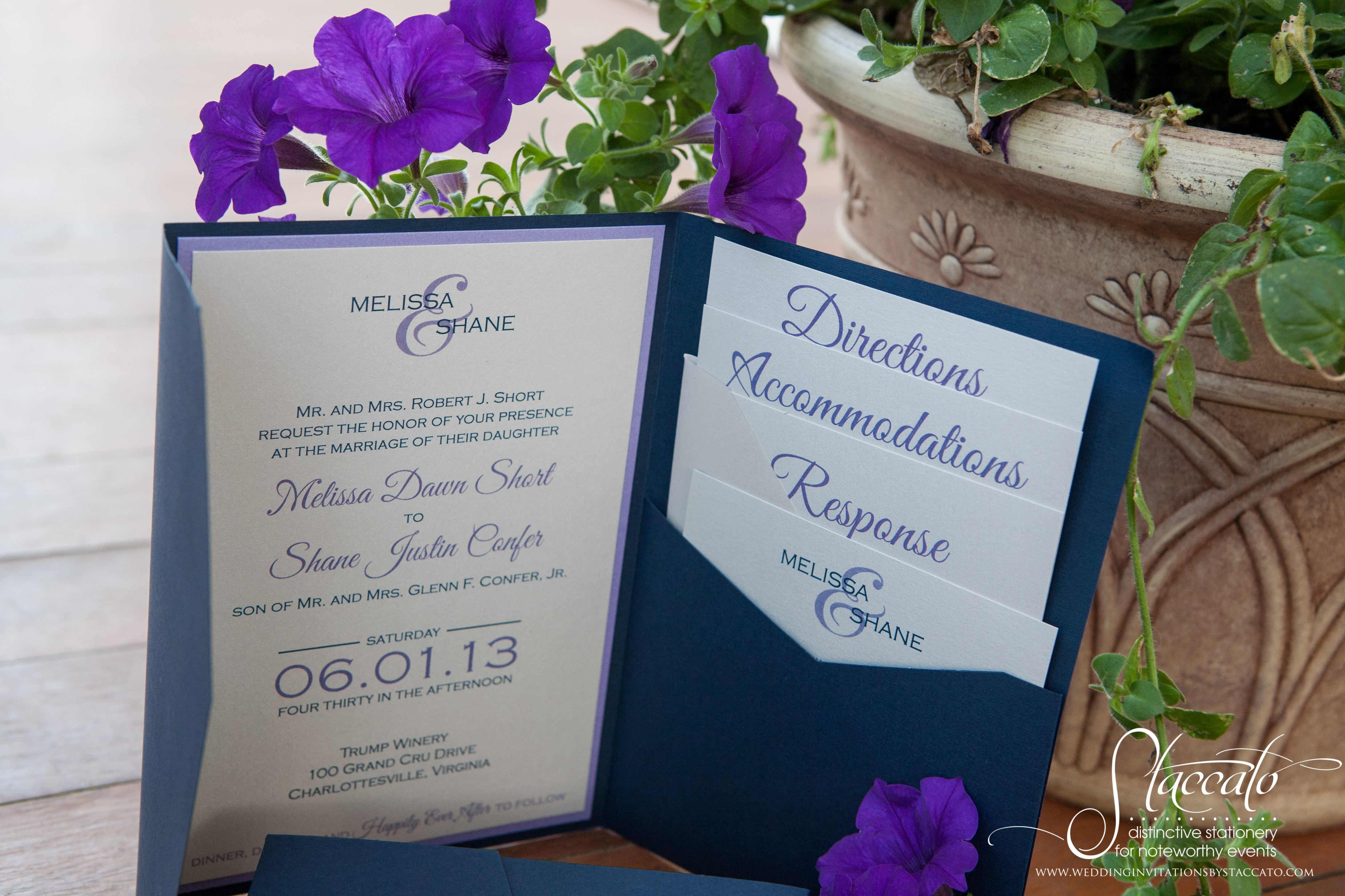 Melissa's pocket invitation, navy and lavender, satin ribbon.