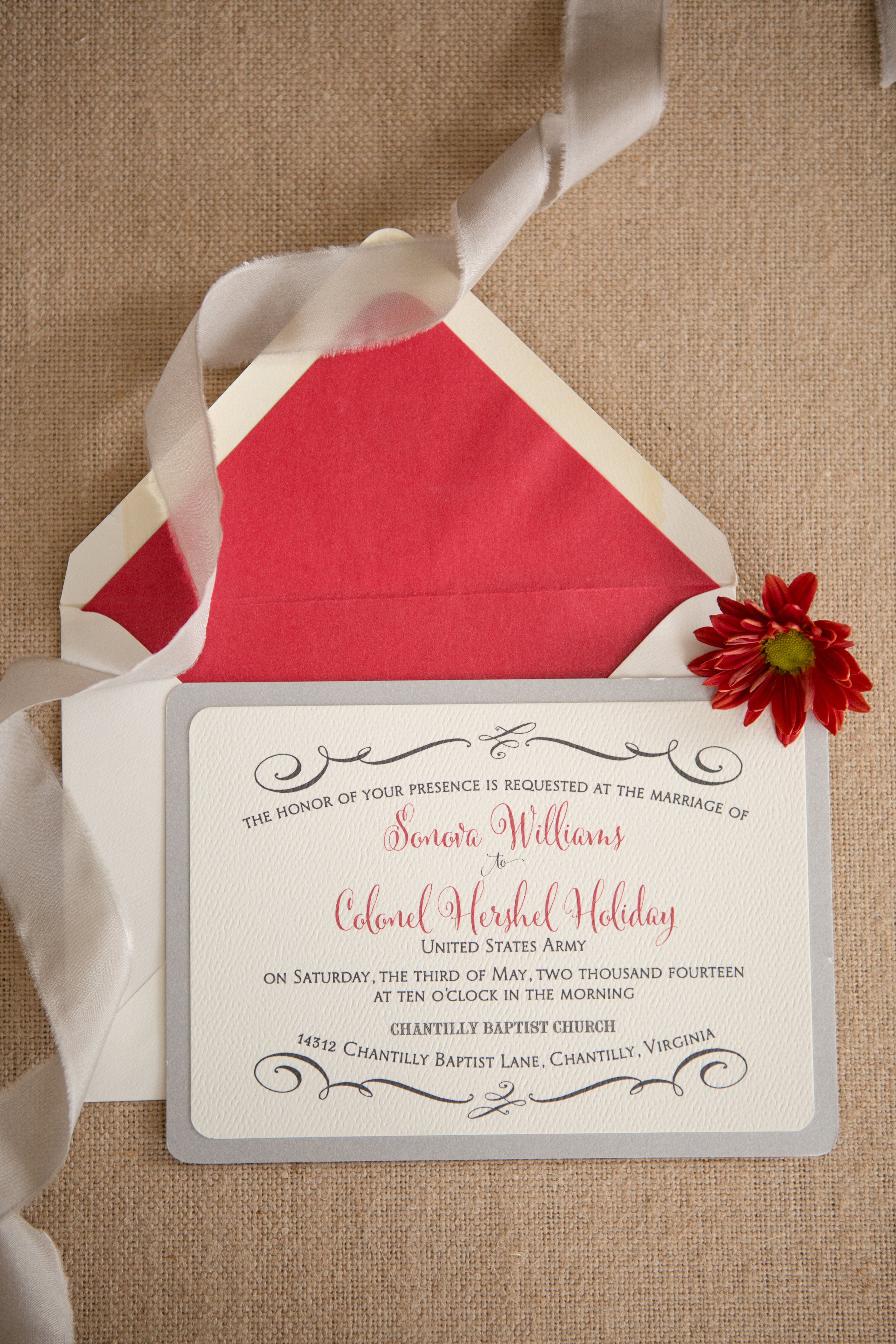 Sonova & Hershel's Red and Silver Invitations