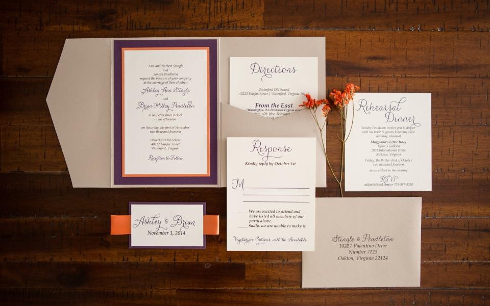 Ashley's Wedding Invitation Suite, Festive Fall colors, orange, purple, beige