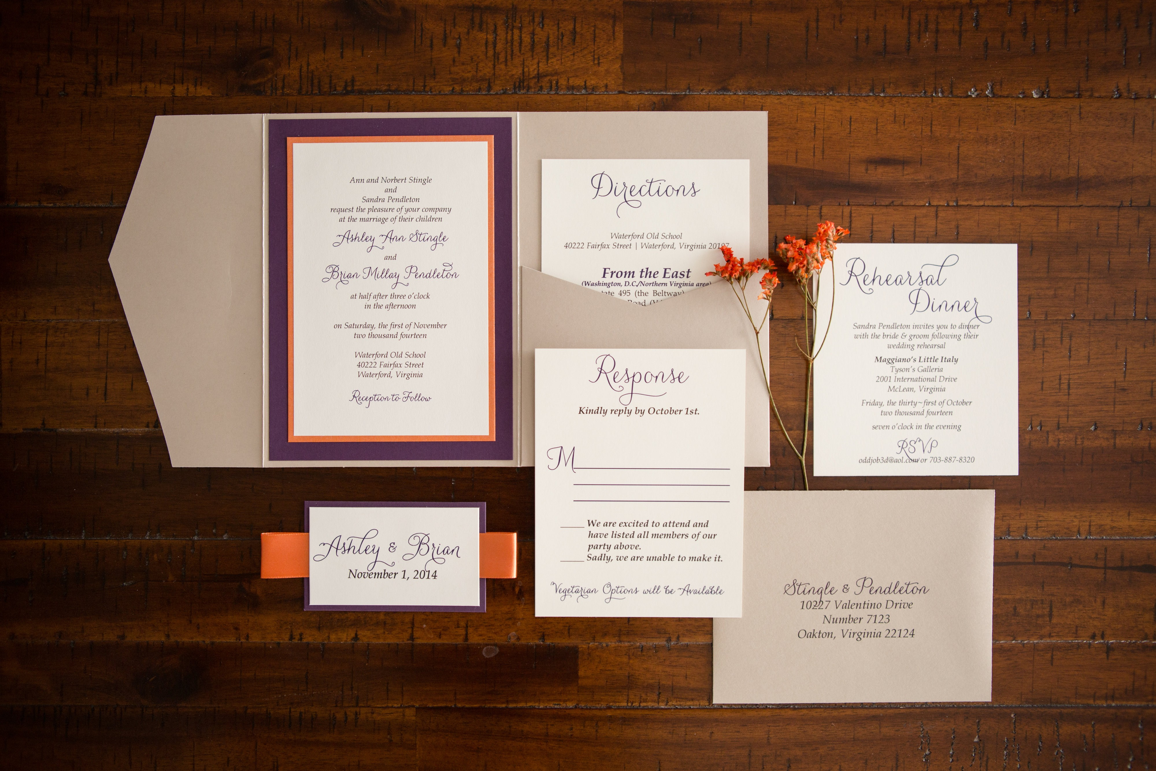 Ashley's Wedding Invitation Suite, Festive Fall colors, orange, purple, beige