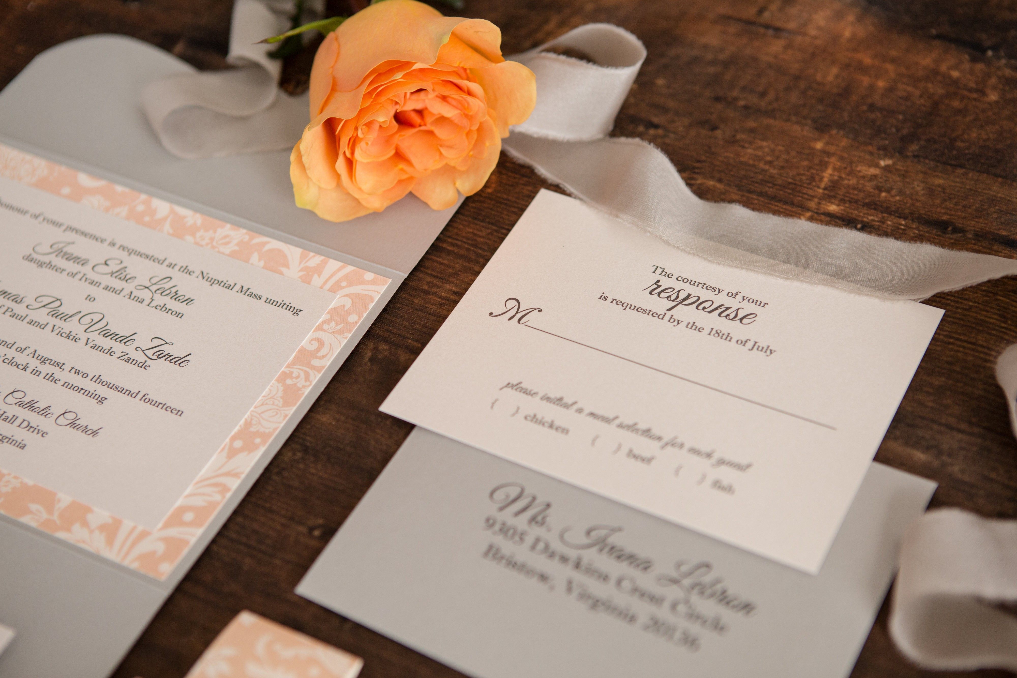 Gray and blush pocket wedding invitation suite.