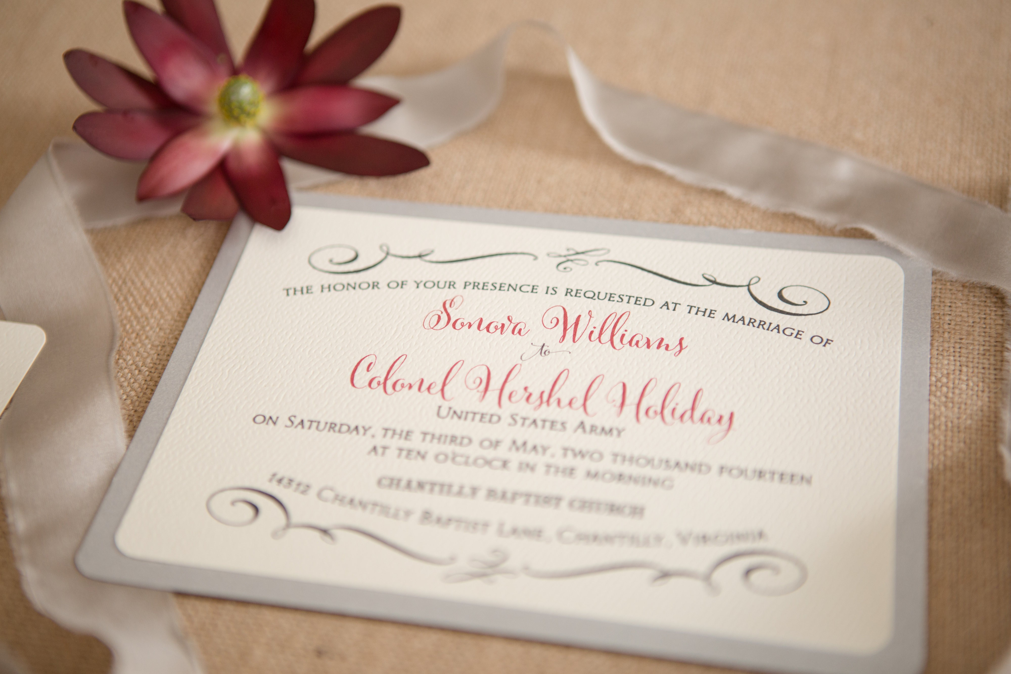 Black, Ivory, Silver, and Red, contemporary typesetting, layered invitations