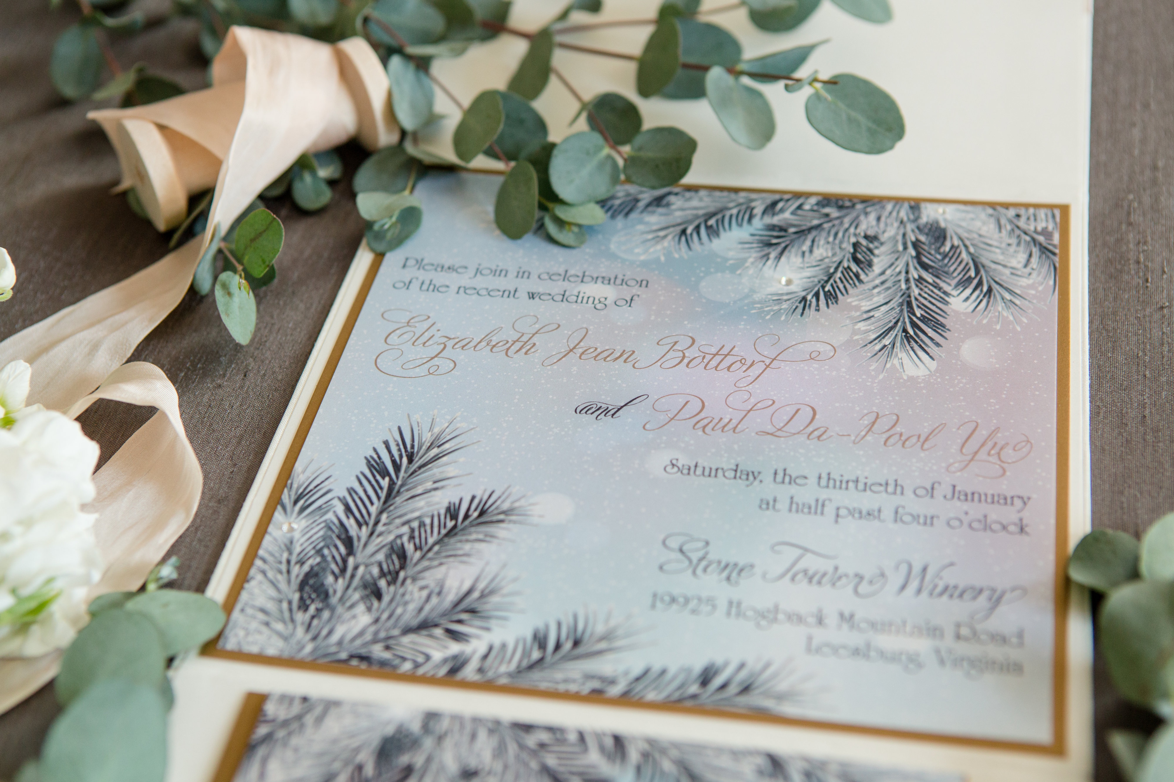 Silk Folio Boxed Winter Wedding Invitation