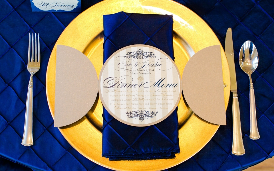 French Luxe Dinner Menu, elegant filigree, gold, navy