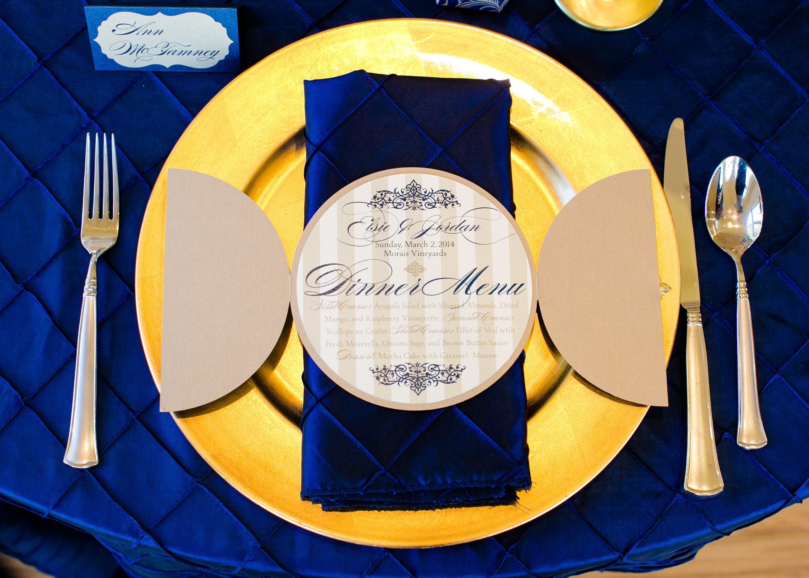 French Luxe Dinner Menu, elegant filigree, gold, navy