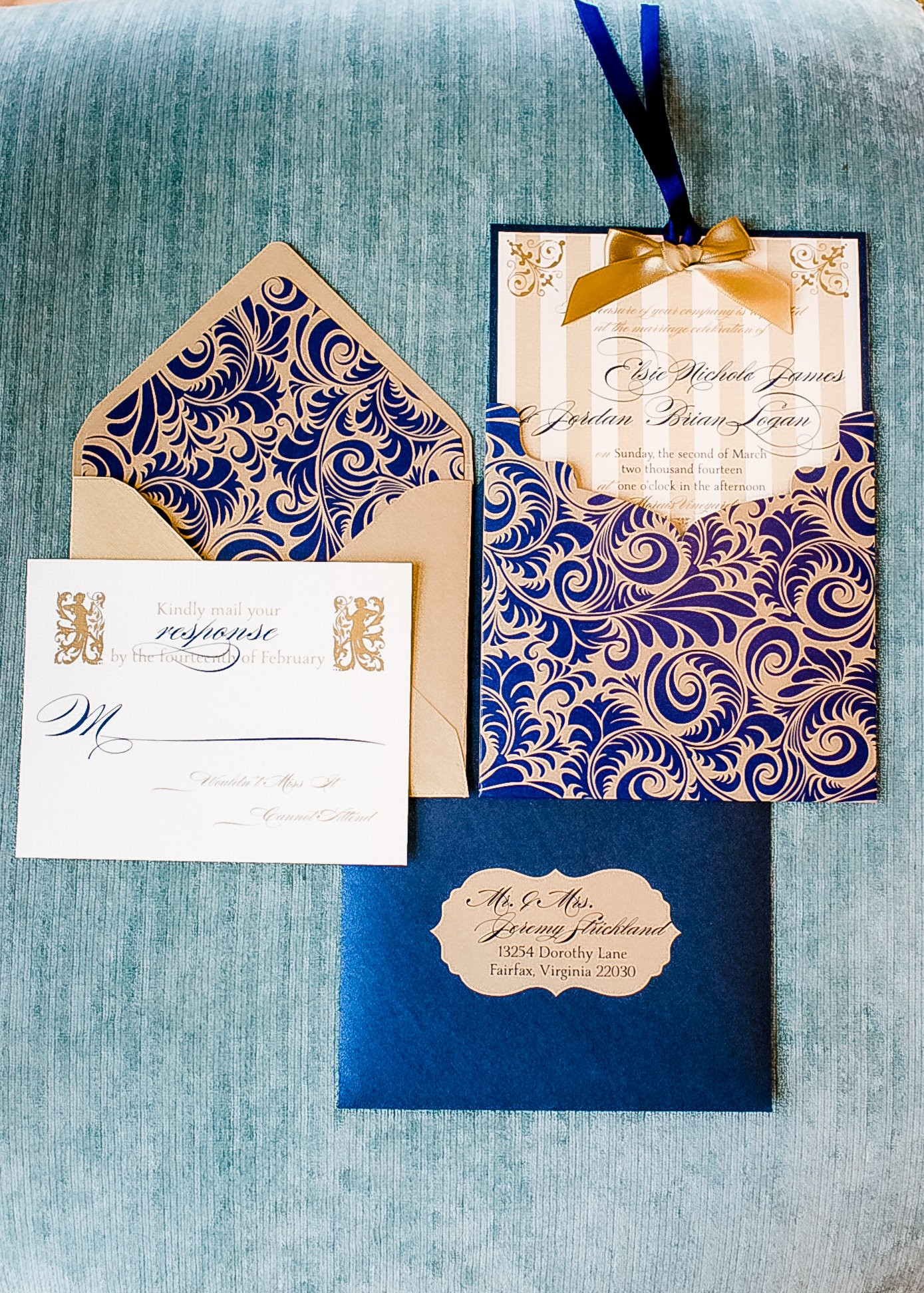 French Luxe invitation suite, navy blue, gold and ivory accents