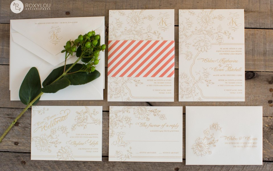 Chloe Wedding invitation from RoxyLou Green Collection; one-color letterpress, floral, invitation wrap