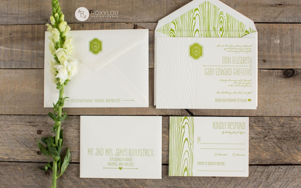 Erin Wedding Invitation Suite; Woodgrain, Green, Monogram, RoxLou Letterpress Green Collection