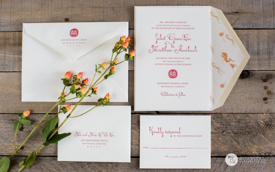 Juliet Wedding Invitation from RoxyLou Green Collection; Simple and sophisticated, lined envelope, monogram