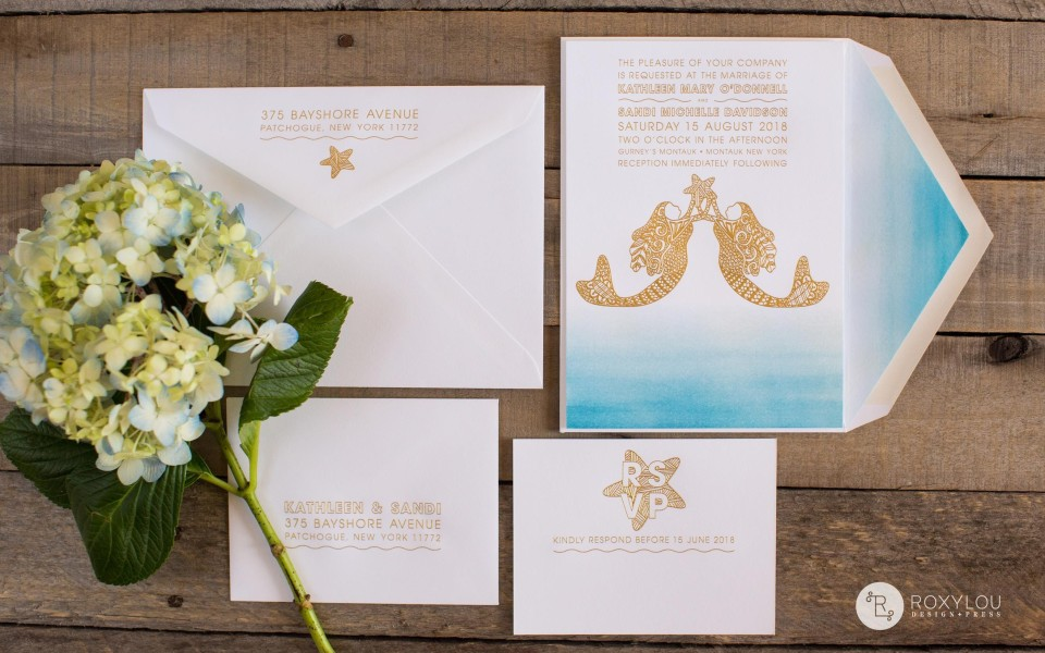 Kathleen Invitation Suite from RoxyLou Green Collection; mermaids and starfish on an ombre watercolor sea
